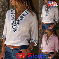 Women Printed Patchwork Three-quarter Sleeves Blouse Tee T-Shirt Tops Casual US