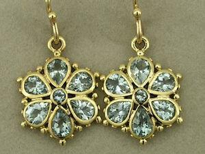 E036 Solid 9ct Gold NATURAL AQUAMARINE DAISY Drop Earrings Blossom Flower Dangle