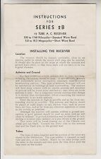 VINTAGE RADIO PAMPHLET - INSTRUCTIONS FOR SERIES 2B 12 TUBE A.C. RECEIVER