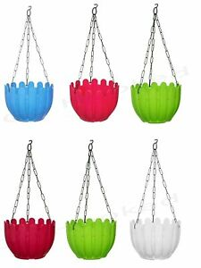 Plastic Planting pot With Hanging Chain, Flower pot , 8.5 x 6 inch, Set of 6