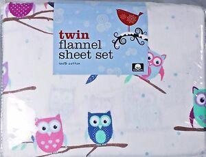 Twin Flannel Girls Hooty Owl Sheet Set 3pc 100% Cotton Soft