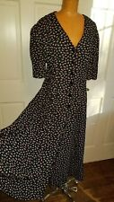Vintage 90s Grunge Boho short sleeve black floral button up maxi dress Size 18