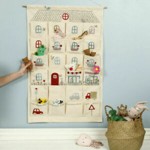 Fill-Your-Own Fabric Advent Calendar For Christmas Up Hanging 24 Pockets UK