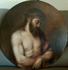"""Antico dipinto Caravaggesco '800 olio su tela """"Ecce Homo"""" Gesù Cristo - d. 60 cm"""