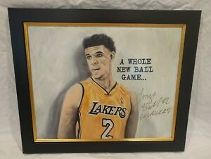 Lonzo Ball Signed Original Los Angeles Lakers Painting NBA *PROOF* Lavar BAS COA