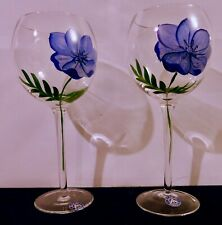 Set Of 2 Block Hand Painted Floral Balloon Wine Glass Stemware Assorted Colors