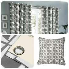 Fusion CAPELLA Grey Geometric 100% Cotton Eyelet Curtains & Cushions