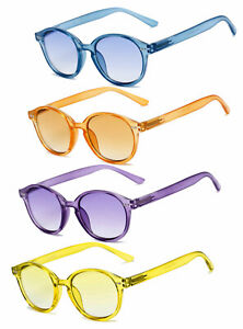 1 or 2 Pairs Round Full Magnified Tinted Color Lens Reading Sunglasses UV400
