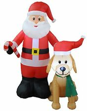 5 Foot Tall Christmas LED Inflatable Santa Claus with Dog Yard Garden Decoration