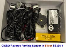 SILVER colour Reverse Parking 4 Sensor Aid Kit with Audio Buzzer Alarm Beeper