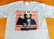 John Lennon Power To The People Plastic Ono Band Gray Tee Shirt Size Large NEW