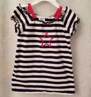 Authentic Kids Girls Blue White Red Striped Star Shirt Top Blouse Size 3T OR 4T