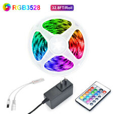 32.8 Feet RGB 3528 Flexible Led Strip Lights SMD 24 Key Remote 12V DC Power Kit