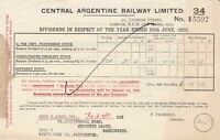 Central Argentine Railway Limited London 1925 Yearly Dividends Receipt Ref 39742