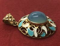 Vintage Sterling Silver Necklace 925 Pendant Vermeil Italy Stone Blue Enamel