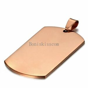 Rose Gold Tone Stainless Steel Military Dog Tag Pendant Necklace Mens Gifts