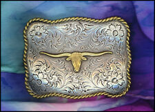 Western Cowboy/Cowgirl Rodeo Engraved Antique Silver/Gold Longhorn Buckle
