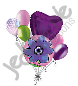 7pc Painted Purple Flower Balloon Bouquet Party Decoration Birthday Wedding Love