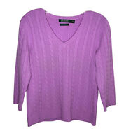Ralph Lauren small sweater 100% cashmere purple cable knit v neck 3/4 sleeve