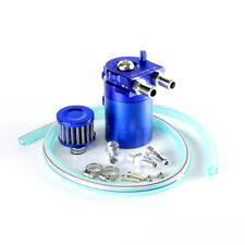 Blue Cylinder Aluminum Engine Oil Catch Reservoir Breather Tank Can w/ Filter