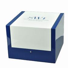 Single Automatic Wood Watch Winder Gloss Lacquer Wooden White Blue SWI AC Adapt