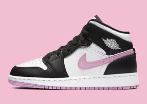 Nike Air Jordan 1 Mid Retro GS ARCTIC PINK WHITE BLACK 555112-103 Youth Women