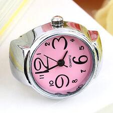 Trendy Womens Girls Fancy Exclusive Steel Round Elastic Quartz Finger Ring Watch