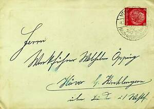 GERMANY HINDENBURG 12pf ON VERSMOLD SPECIAL CANCEL COVER