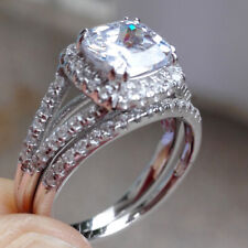 Engagement Ring Set For Women Sz 10 Bridal Round Cz 925 Sterling Silver Wedding