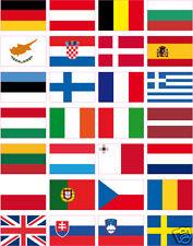 """28 pays autocollants en vinyle TOUS LES DRAPEAUX EUROPE 35x25 mm (1""""x1.5"""")"""