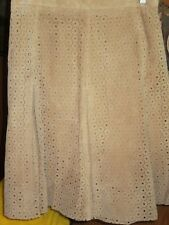 TERRY LEWIS Classic Luxuries HSN Tan Leather Floral Cutouts Skirt Ladies 14