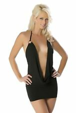 Mini robe de soirée coquine sexy dress clubwear noir décolleté profond Neuf M