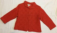 Coral Orange With Black Polka Dots Topper w/Embroidered Design Sz M LKNW