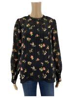 Modcloth Womens Blouse Size M Black Floral Shirt Top Lace Trim Boho Shimmer T1