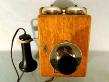 NICE WESTERN ELECTRIC TYPE 293A OAK WALL TELEPHONE, WITH 143 REC & 229 W TRANS