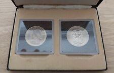 PANAMA RARE UNC COINS SET 1 & 5 BALBOA 1975 YEAR Cu-Ni ERROR LEY .925 CASED BOX