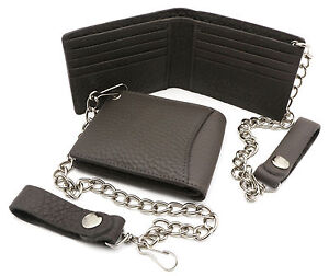 Bifold Gray Genuine Leather Wallet with Scale Texture Design with a Chain