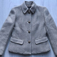 TALBOTS Petites Wool Blend Tailored Tweed Jacket Beige  4 Button Size S AC