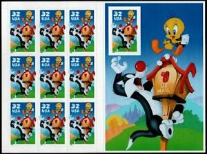 1998 SYLVESTER TWEETY BIRD Looney Tunes MNH Pane 10 32¢ Stamps #3205 Imperforate