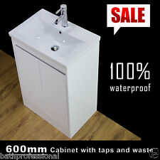 Floor Standing Bathroom Vanity Unité bassin évier meuble blanc brillant 600 mm