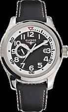 New Mens Elysee 28420 Automatic Prometheus Black Leather Strap Watch