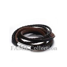 Trendy FAMA Dark Brown Braided Leather Wrap Bracelet w/ Stainless Steel Closure