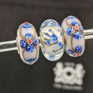 Trollbeads Cherry Blossom Flower with Glitter Ribbon Unique Set OOAK glass bead