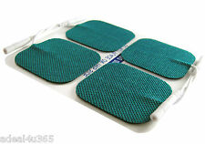 4 Square TENS Electrode Pads 5cm Green Cloth-Backed Reusable Multi Times