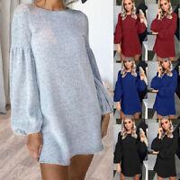 Women Autumn Winter Long Sleeve Knit Casual Sweatshirt Sweater Jumper Mini Dress
