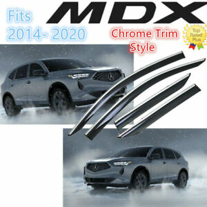For Acura MDX 2014-21 CLIP-ON TYPE CHROME TRIM WINDOW VISOR RAIN GUARD DEFLECTOR