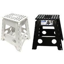 2PK 39cm White/Black Plastic Folding Step Stool Portable Chair Indoor/Outdoor