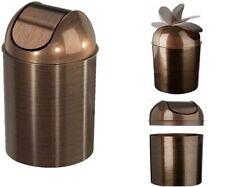New Brown Trash Can Garbage Wastebasket Waste Basket w/Lid Bathroom Kitchen 5L