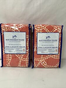 Southern Tide Lagoon King Sham Pair Coral SET OF 2 Pink Quilted New 091