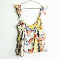 Zara TRF Printed Floral Sleeveless Ruffle Blouse Size Large